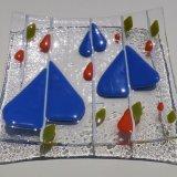Clear blue leaf dish