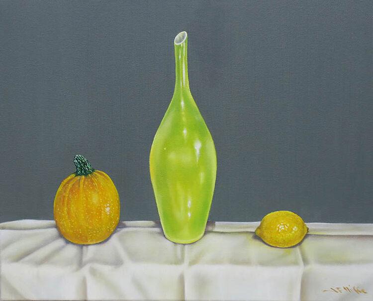 Courgette, vase and lemon