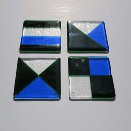 blue green and clear coasters