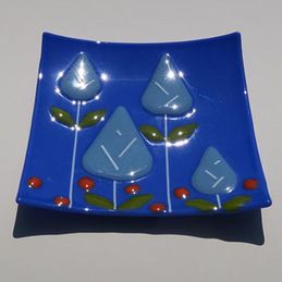 blue flowers square dish (sold)