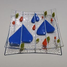 blue leaves square dish (sold)
