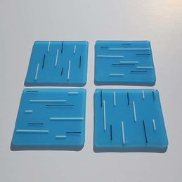 sky blue white and black coasters