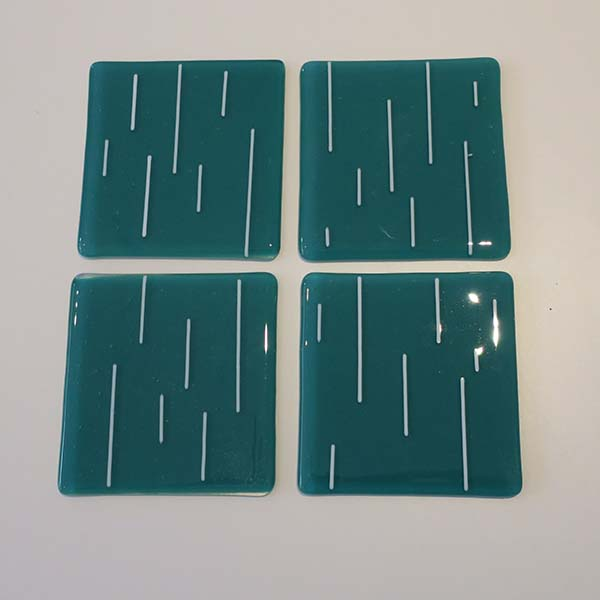 teal and white coasters