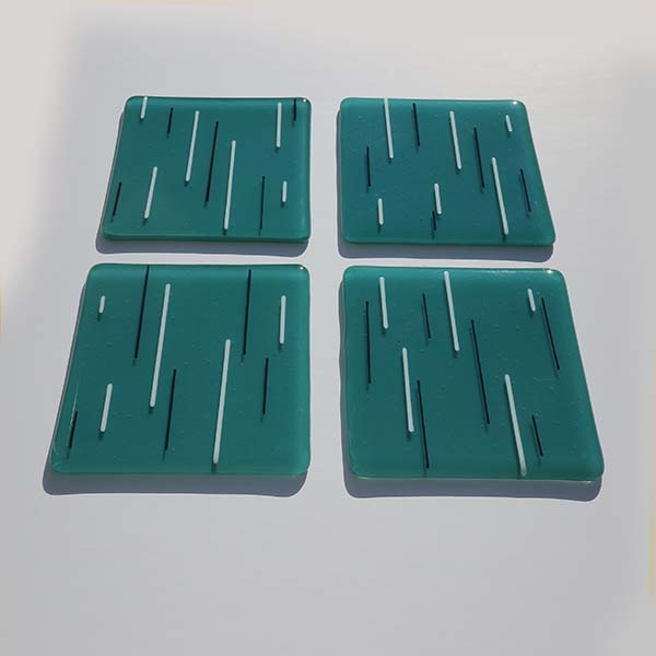 teal white and black coasters