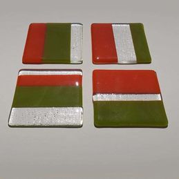 green orange clear coasters (sold)