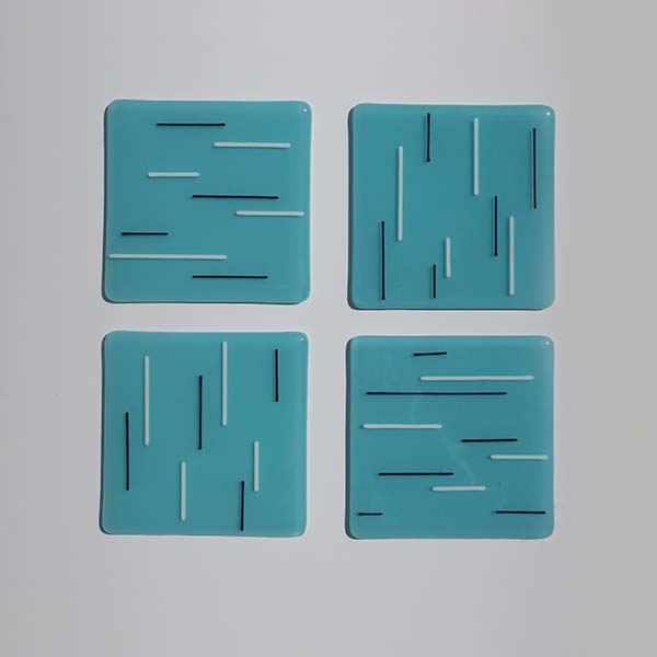 light blue, white/black coasters