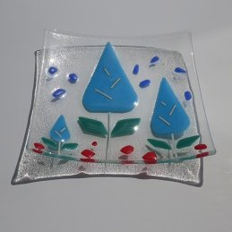 sky blue plants square dish