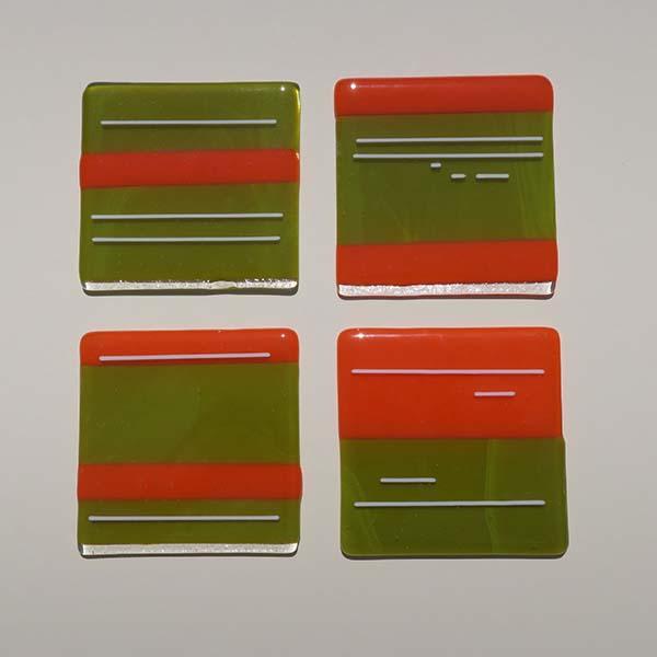 orange/green/white coasters (sold)