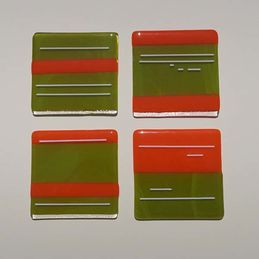 orange green and white coasters (sold)