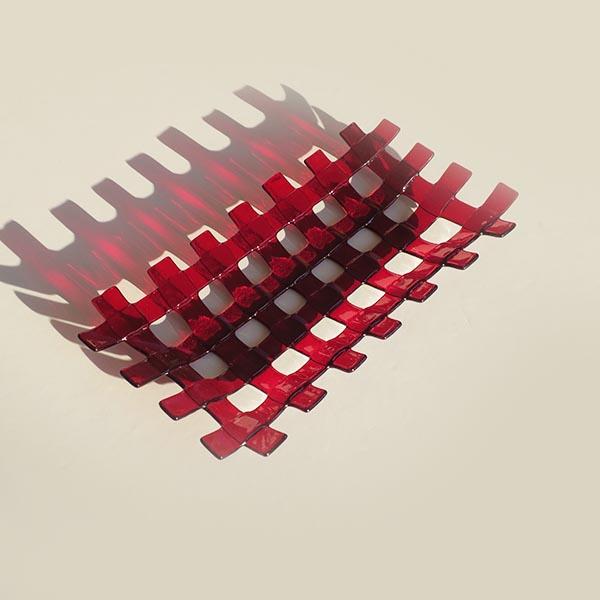 ruby red lattice rectangular dish