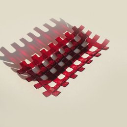 ruby red lattice rectangular dish