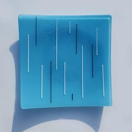 sky blue, white and black square dish