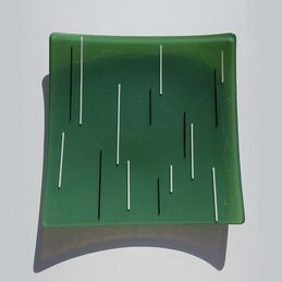 green, white and black square dish from above