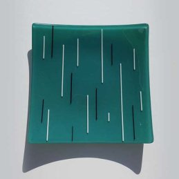 teal, white and black square dish