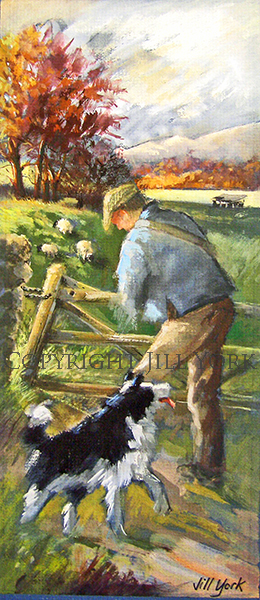 Farmer and Collie at Gate
