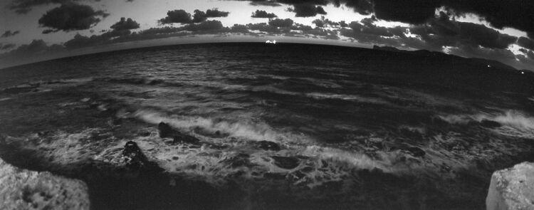 freighter on the horizon