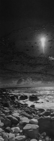 black and white panorama double negative photographic art of the Atlantic sea coast of Sao Miguel Azores