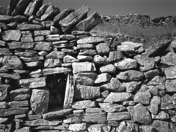 black and white photographic art of dry stone wall in Sifnos Greece