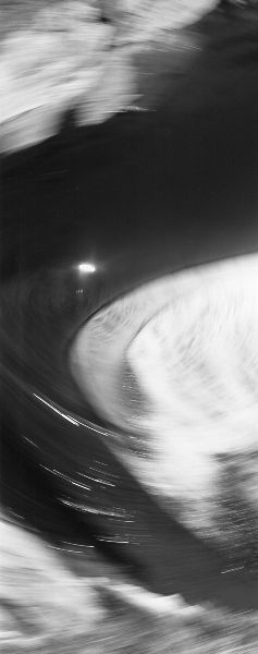 abstract black and white vertical panorama photographic nature art of water flowing at dams along the Grand River in Ontario