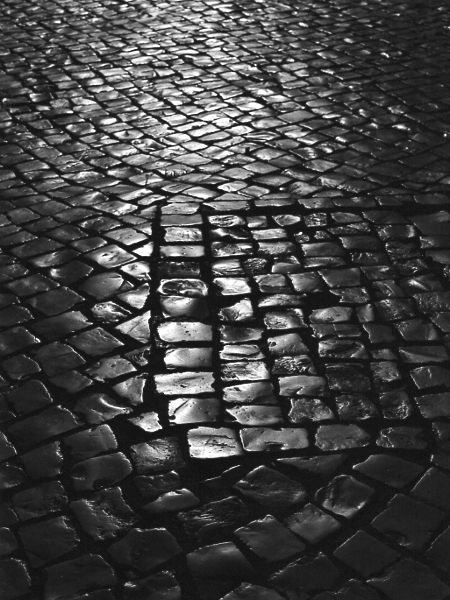 black and white photographic art response to Covid-19 of cobblestones in Lagos Portugal