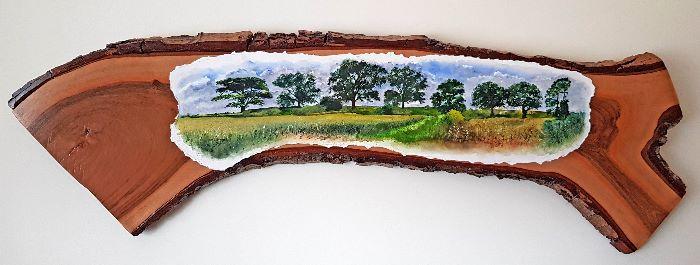 Trees Watercolour on paper mounted on genuine english oak board