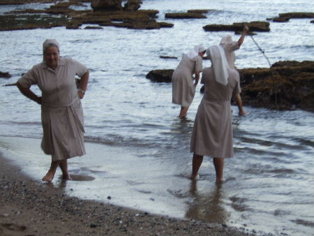 Nuns paddling