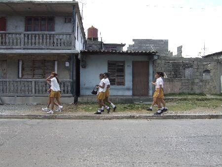 Schoolgirls returning home
