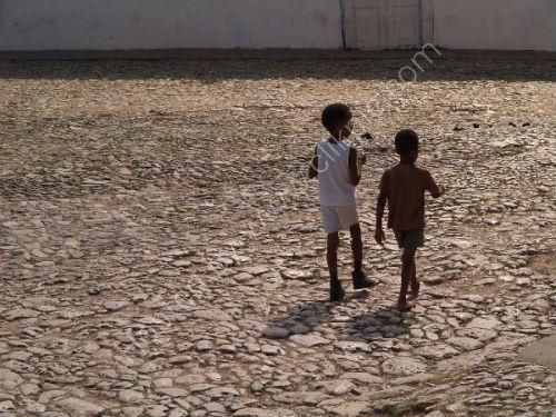 Children in cobbled square, Trinidad