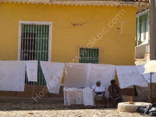 Linen sellers, Trinidad