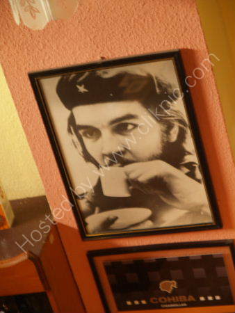 Che Guevara drinking coffee