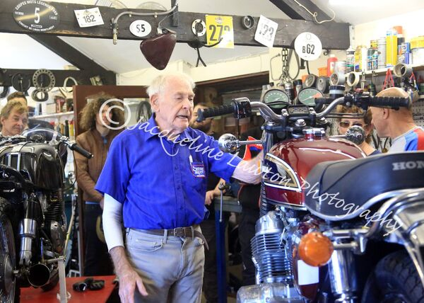 Sammy Miller in his workshop