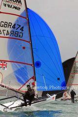 Musto Skiff Nationals 2013 at Highcliffe Sailing Club - 16th June. Sail No 474 - Alistair Conn (Derwent)