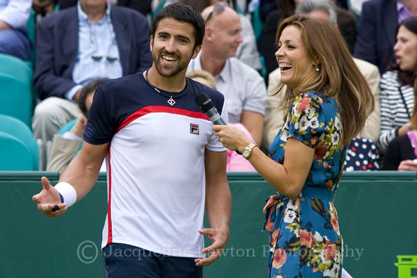 Janko Tipsarevic being interviewed by Natalie Pinkham on Day 1 of The Boodles 2013