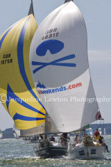 Class 6 IRC, Wild Blue (GBR1975R) & Skiweekends.com (GBR6831T) racing at Cowes on Fri 9th August 2013