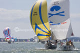 Class 6 IRC, Spinnakers out & racing at Cowes 2013