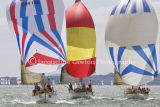 IRC Class 6, colourful spinnakers at Cowes 2013