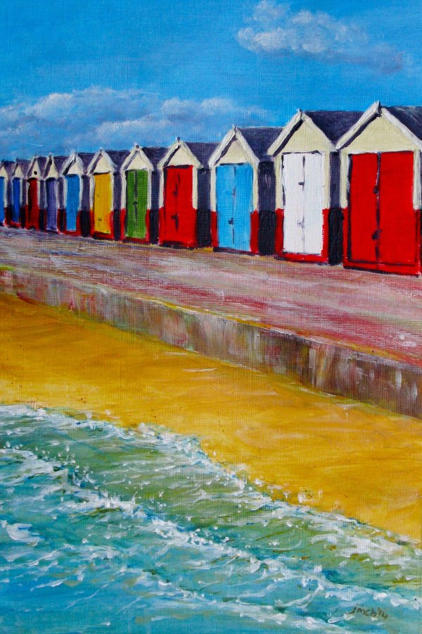 Beach huts near Hove; gifted