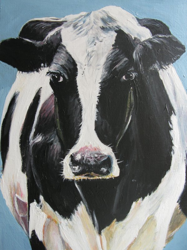 Black-white cow on blue background; sold