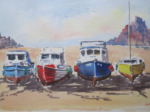 Boats near St Michael's Mount, Cornwall; SOLD