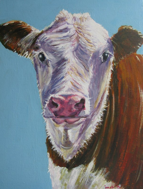 Brown cow with blue background; sold