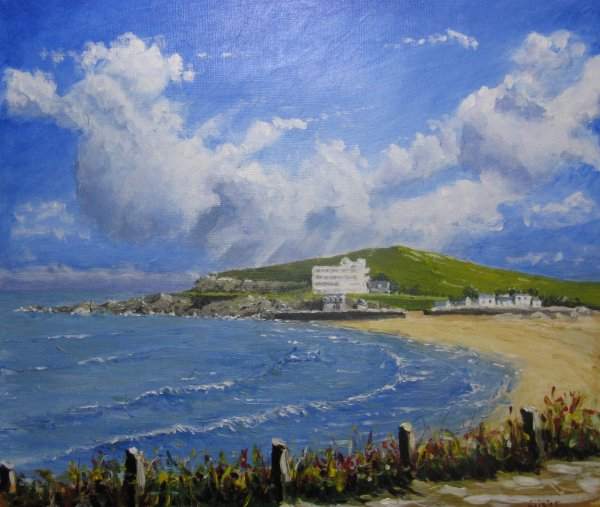 Burgh Island and cloudy sky; sold