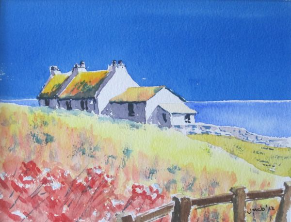 Irish cottage with poppies in the foreground; SOLD