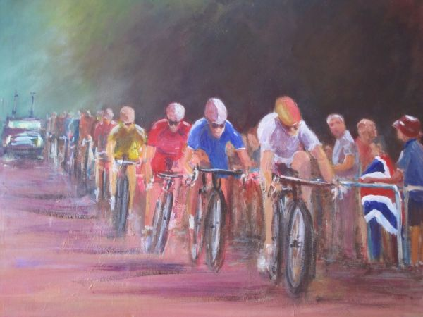 Olympic cyclists flash by; sold