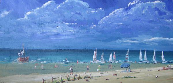 French beach scene, acrylic on board; sold