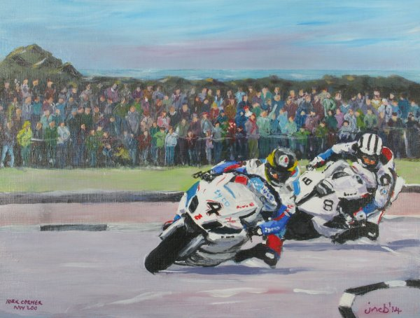 Martin and Dunlop round York Corner in the 2014 NW200! Sold