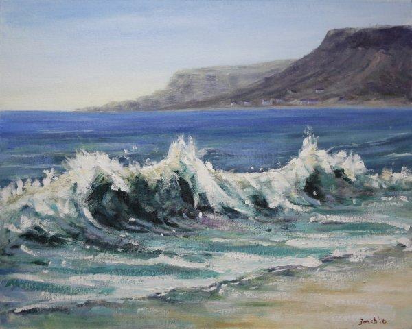 Waves breaking at Fairhead, Ballycastle NI; sold