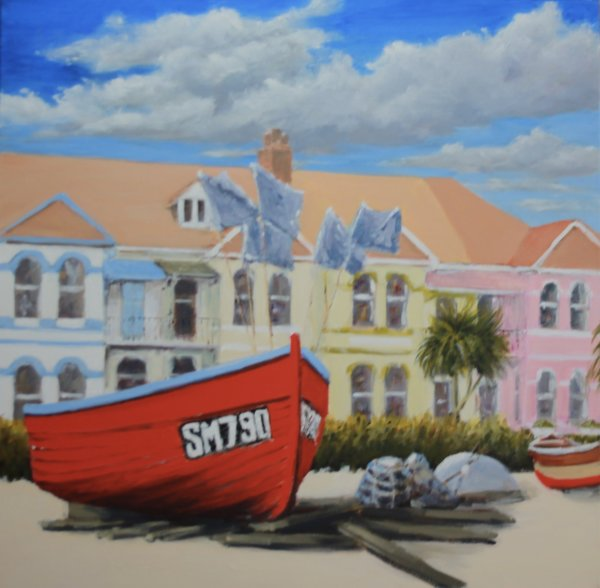 Red boat in Worthing