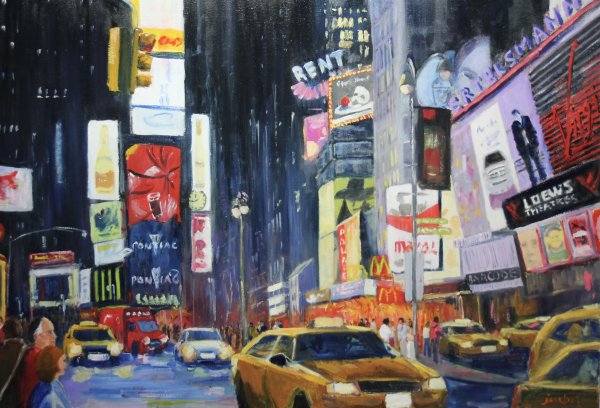 Times Square, NY at night; commission