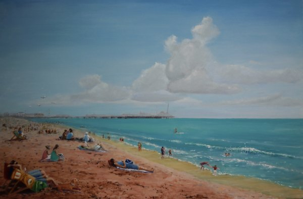Brighton beach and distant pier; gifted