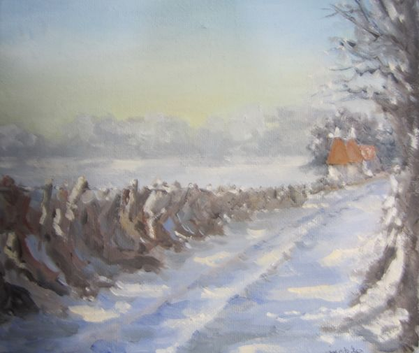 Along the wintry lane